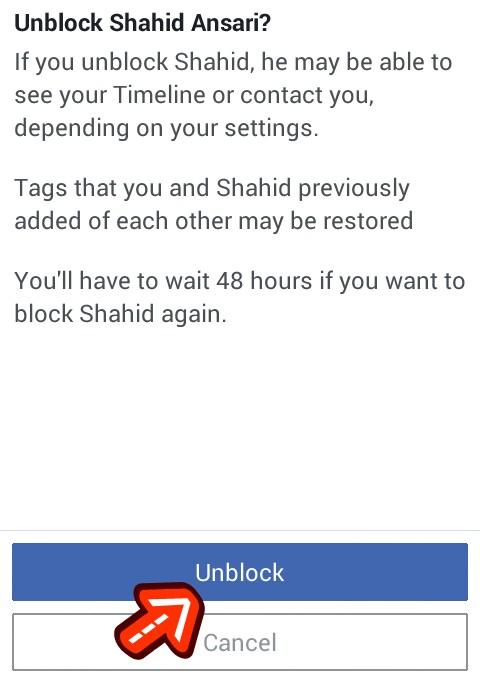 facebook friend unblock setting