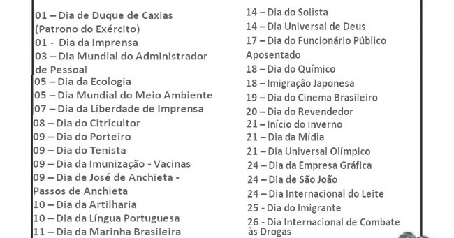 Calendario De Datas Comemorativas Do Mes De