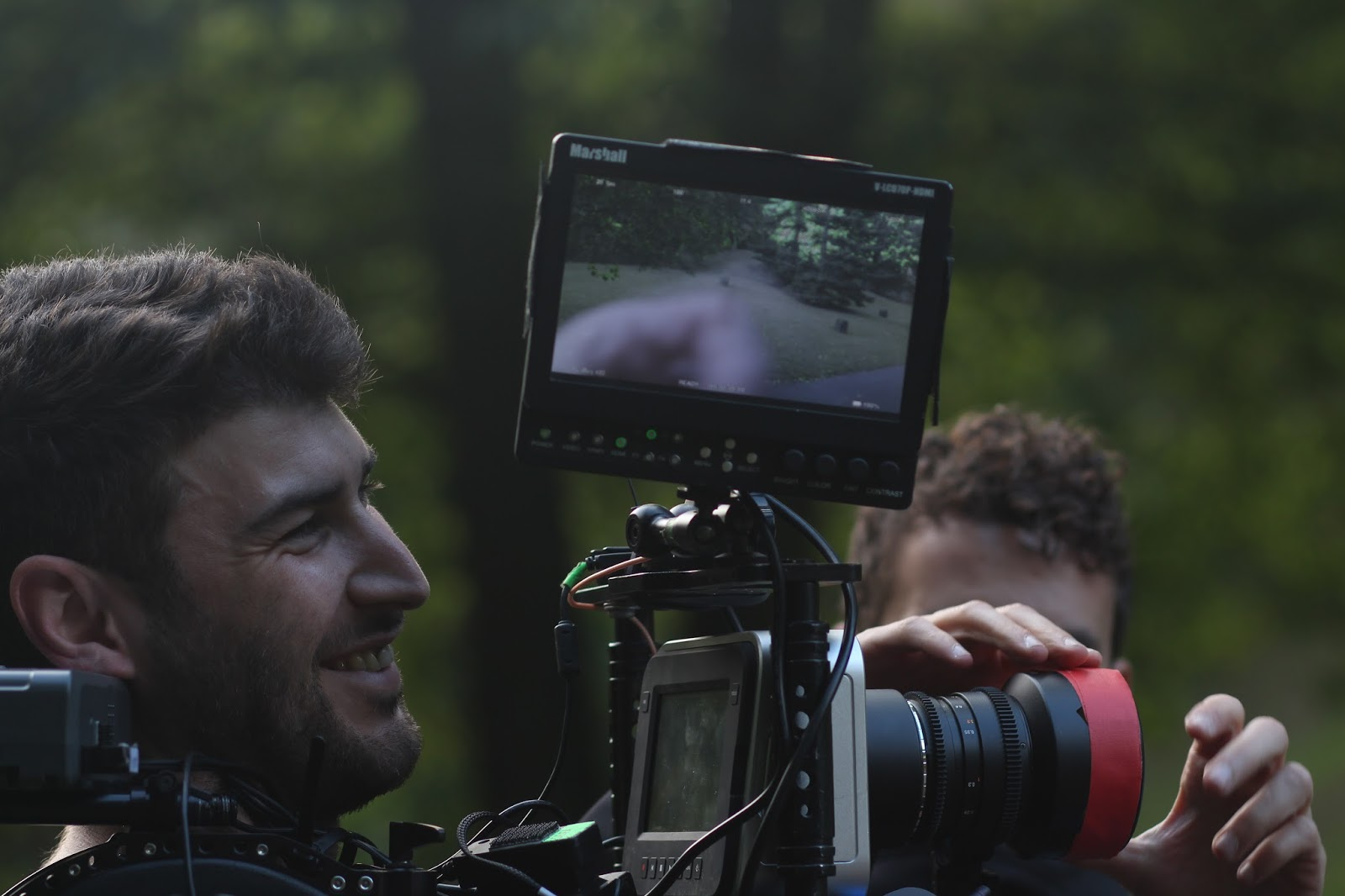 "Cinematographer Sefa Ucbas shooting ""The Turtle Terminator"" with assistant Nico Biarese"