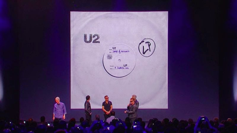 At live Apple event U2 Releases new album Songs of Innocence free on iTunes