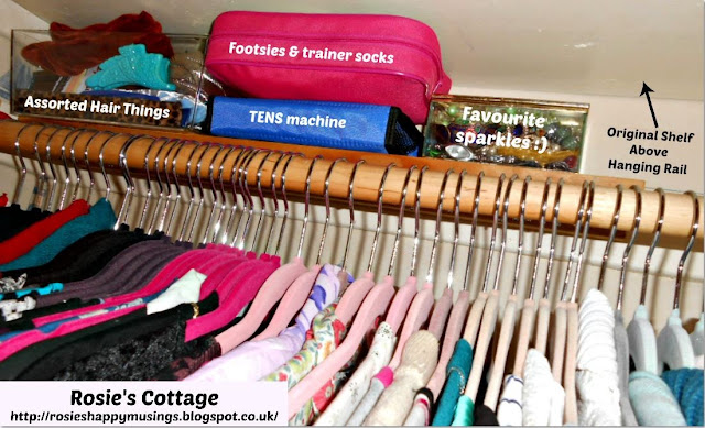 """Secret"" shelf which sits directly behind the clothes rail is the perfect home to frequently used smaller items."