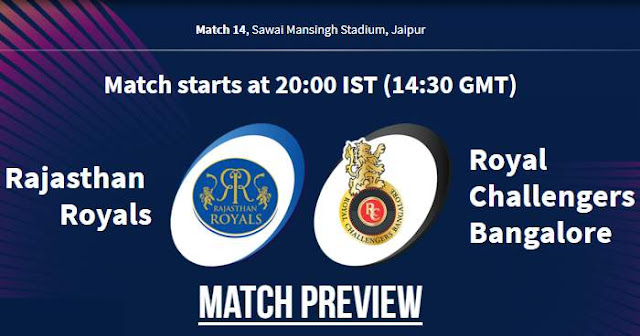 VIVO IPL 2019 Match 14 RR vs RCB Match Preview, Head to Head and Trivia