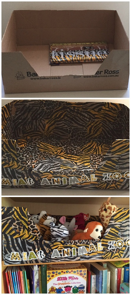 Zoo themed stuffed animal storage box