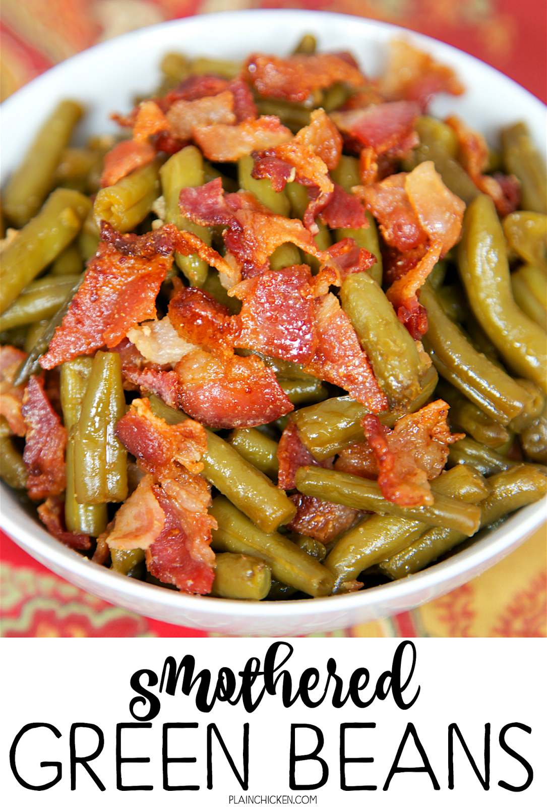 Smothered Green Beans - canned green beans baked in bacon, brown sugar, butter, soy sauce and garlic. This is the most requested green bean recipe in our house.Everybody gets seconds. SO good!! Great for a potluck. Everyone asks for the recipe! Super easy to make.