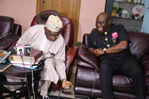 Governor Ikpeazu Delivers MADE In ABA Shoes to OBASANJO