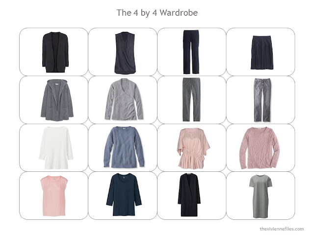 a 4 by 4 Wardrobe in navy and grey, with blush and soft blue accents