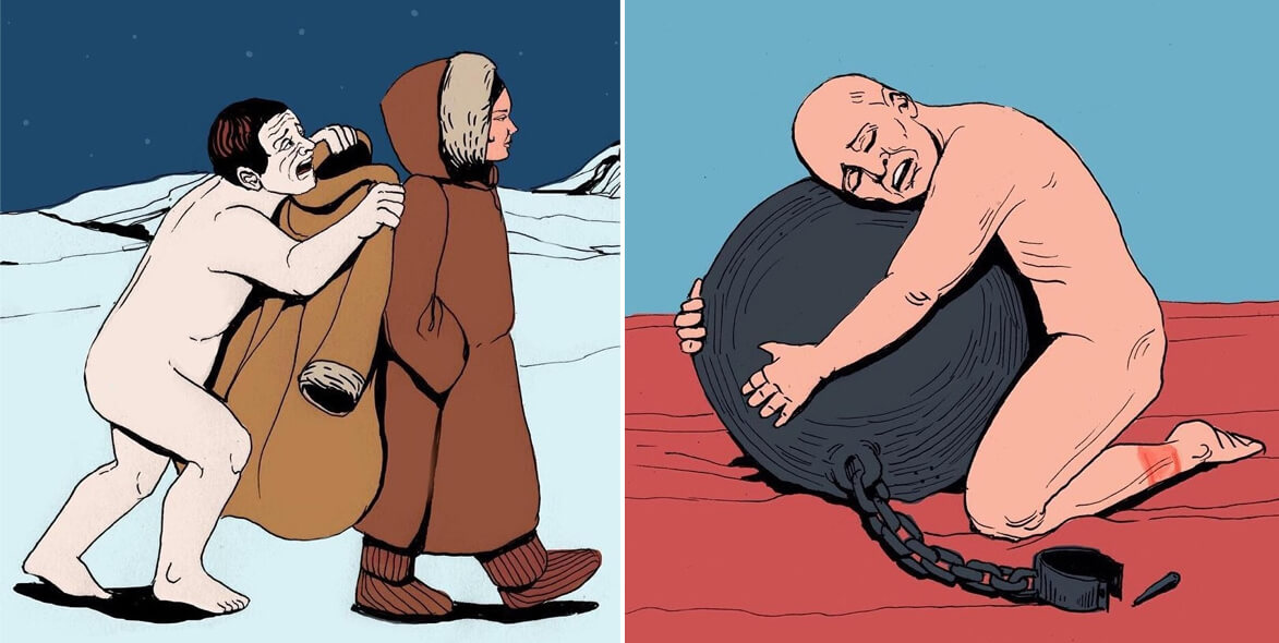 45 Impressive Contradictory Drawings Reveal The Truth About People And Society