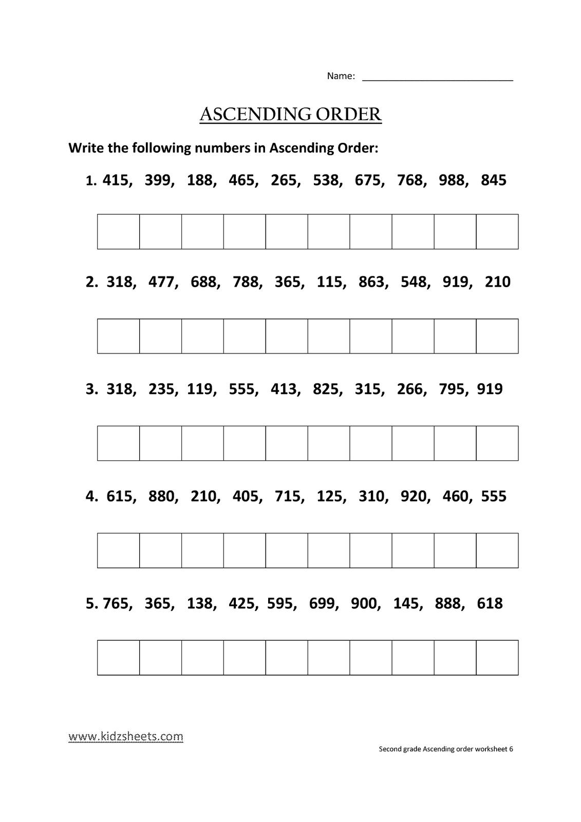 Kidz Worksheets Second Grade Ascending Order Worksheet6