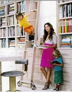 kelly wearstler with her two boys in her  home office