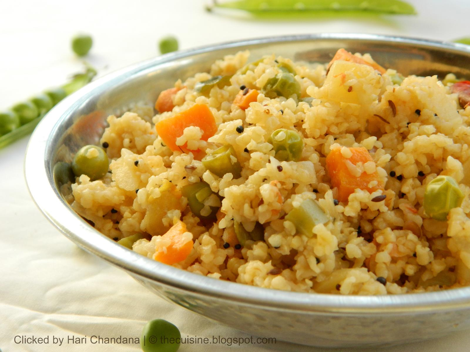 Mixed Vegetable Broken Wheat Upma Recipe - Blend with Spices