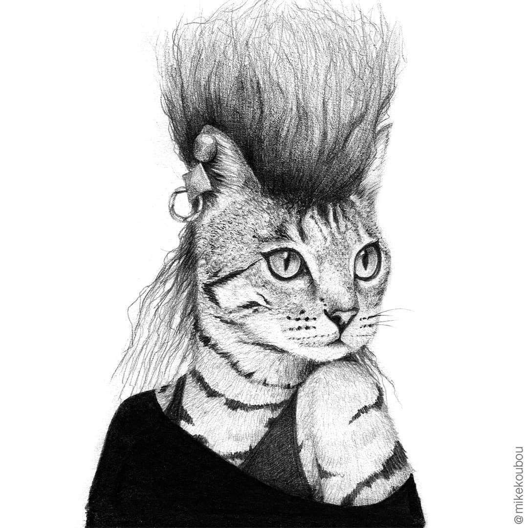 08-Punk-Cat-Mike-Koubou-Staging-Ink-and-Pencil-Drawings-www-designstack-co