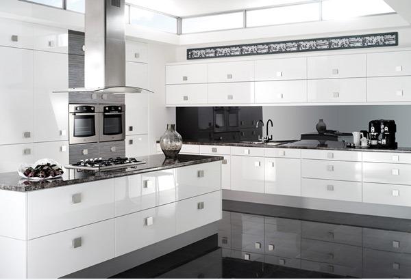 Desain Dapur Sederhana Berwarna Putih Mengkilap