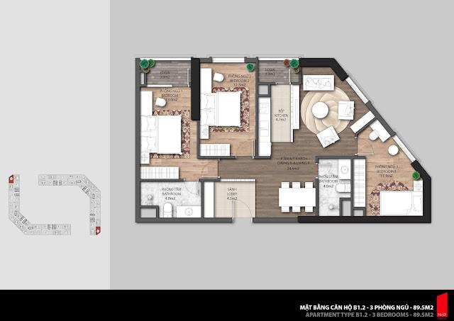 Thiết kế căn hộ B1.2 diện tích 89,5m2 chung cư The Emerald