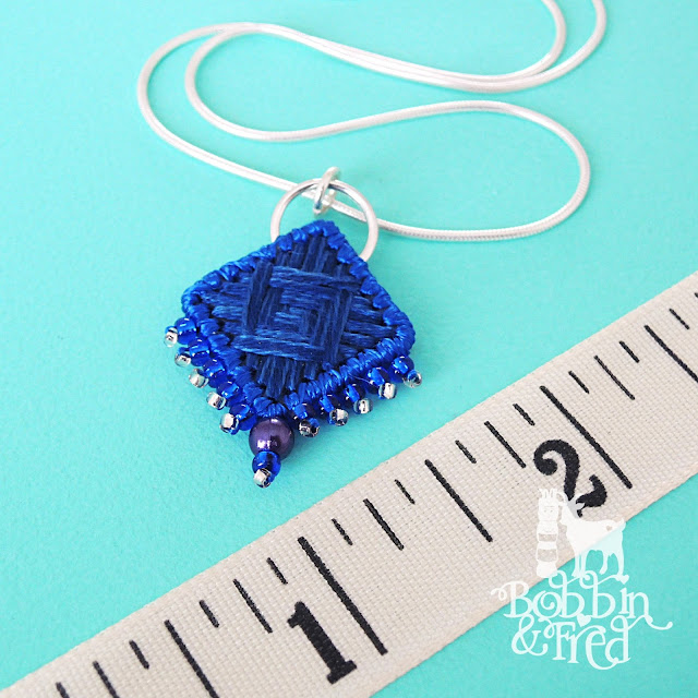 Blue norwich stitch necklace by Sewing With Bobbin and Fred
