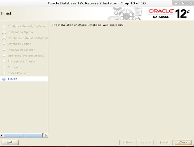 Installing oracle database 12c r2 on Linux wizard screen 9