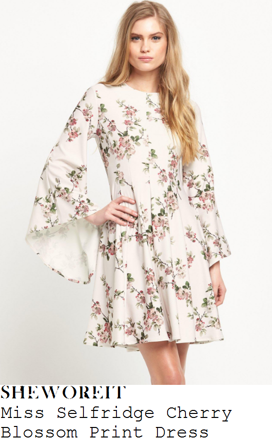 lydia-bright-miss-selfridge-cream-pink-and-green-cherry-blossom-print-long-flared-bell-sleeve-dress