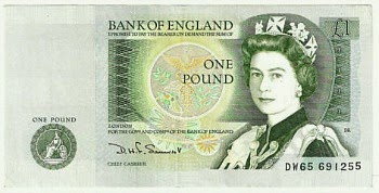 Bank of England One Pound Note from 1981