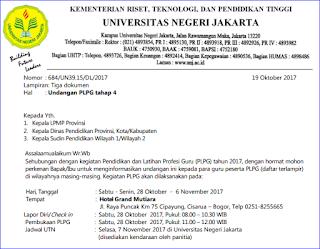 Daftar Peserta dan Undangan PLPG Tahap 4 Tahun 2017 Rayon 109 Universitas Jakarta (UNJ)