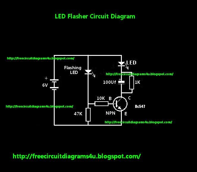 Free Circuit Diagrams 4u  Simple Led Flasher Circuit Diagram Circuit   With One Transistor