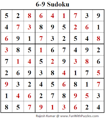 6-9 Sudoku (Fun With Sudoku #137) Solution