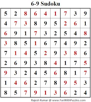 6-9 Sudoku (Fun With Sudoku #137) Solution