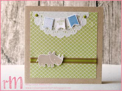 Stampin' Up! rosa Mädchen Kulmbach: Babykarte mit Zierdeckchen, Zoo Babies und Kleines großes Wunder