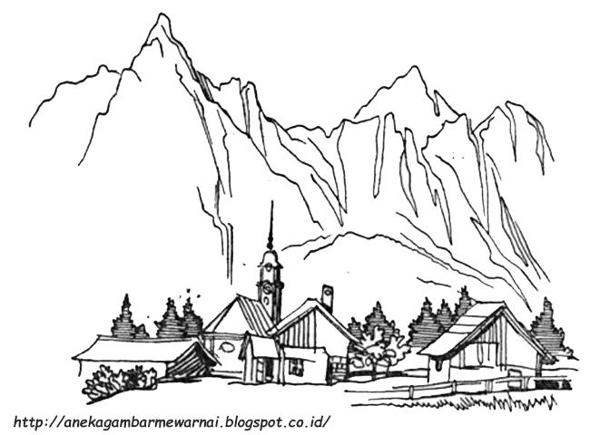 Gambar Mewarnai Pegunungan Untuk Anak Paud Dan Tk