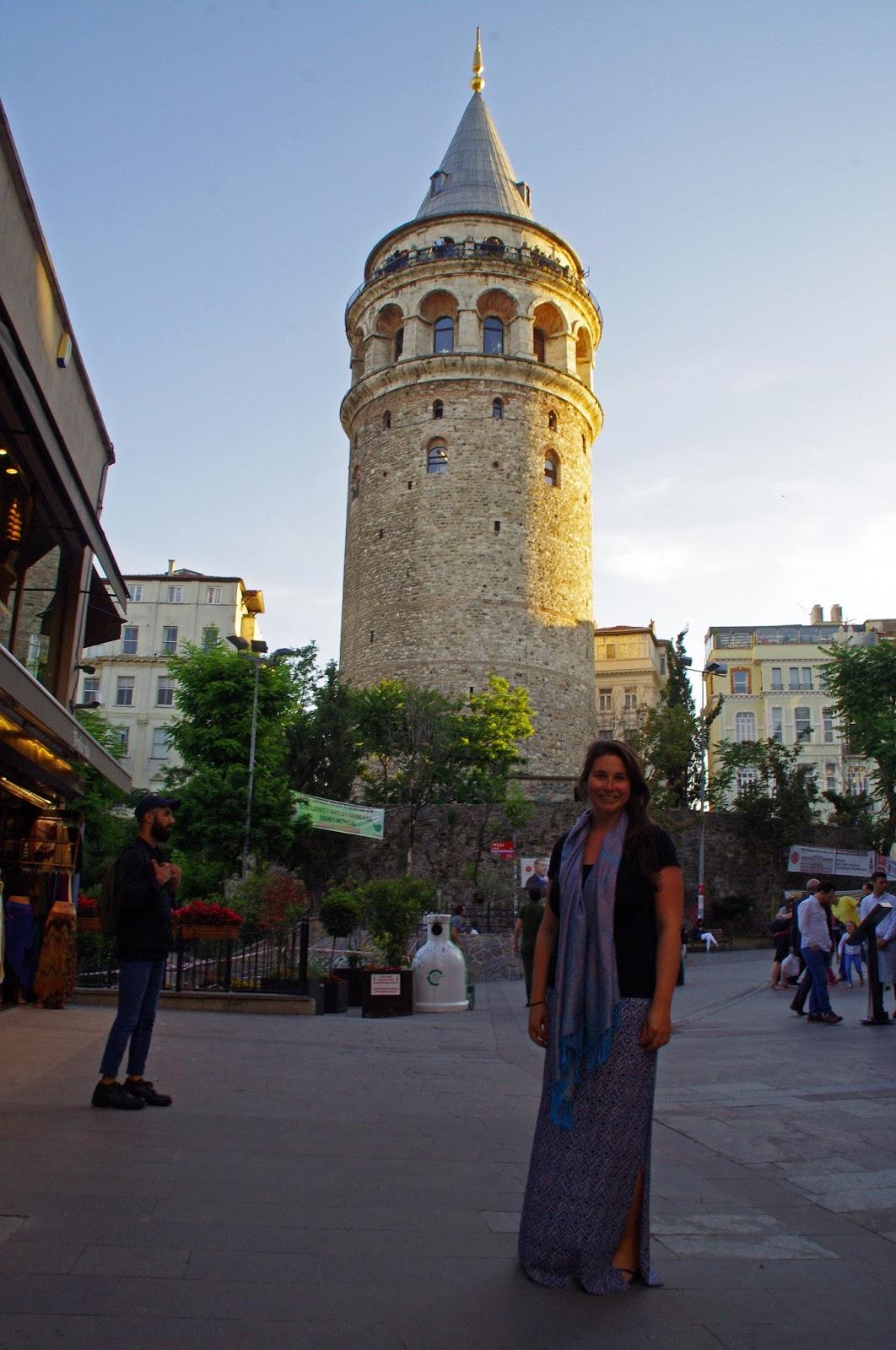 Girl at Galata Tower Istanbul