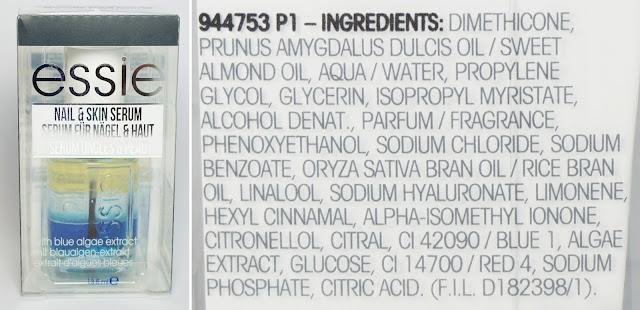 Essie - Nail & Skin Serum für kräftige Nägel (mit Blaualgen-Extrakt) Inhaltsstoffe, INCIs, Ingredients