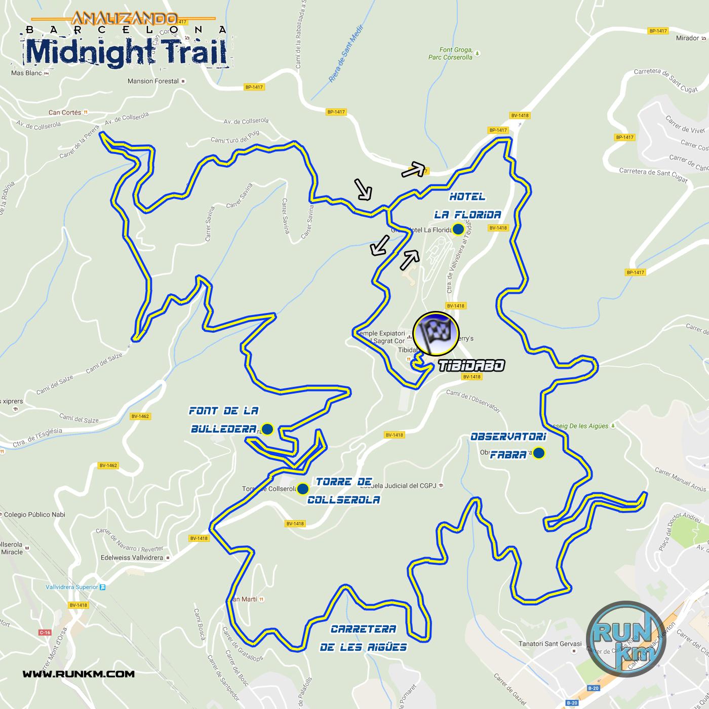 Recorrido Midnight Trail Barcelona