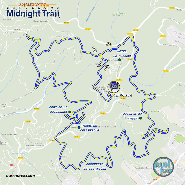 Recorrido Midnight Trail Barcelona