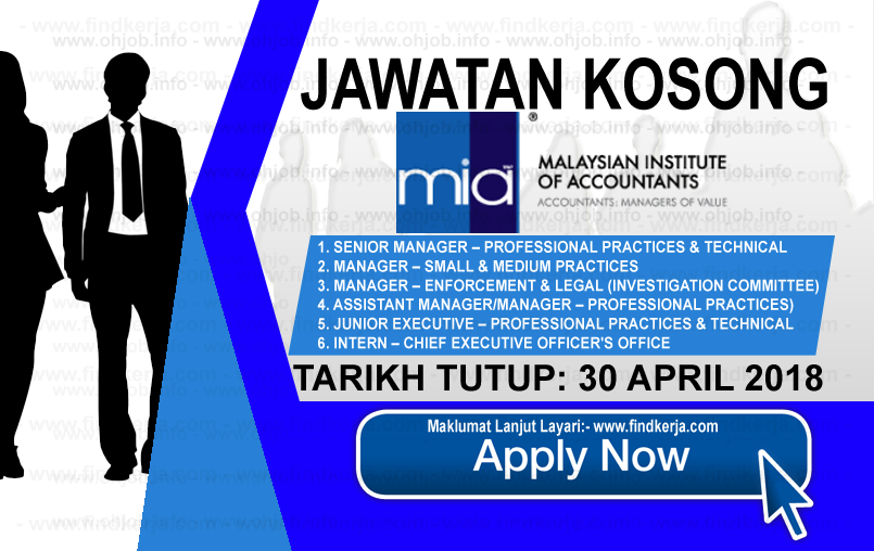 Jawatan Kerja Kosong MIA - Institut Akauntan Malaysia logo www.findkerja.com april 2018