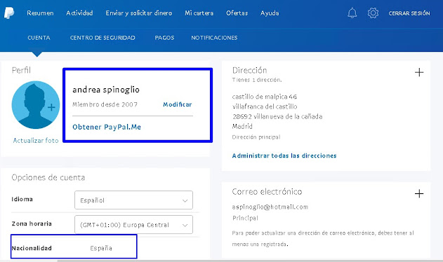 Paypal Accounts Register in 2007 Country Spain