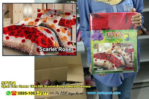 Sprei Fata Queen 160x200 Scarlet Bunga Merah Dewasa