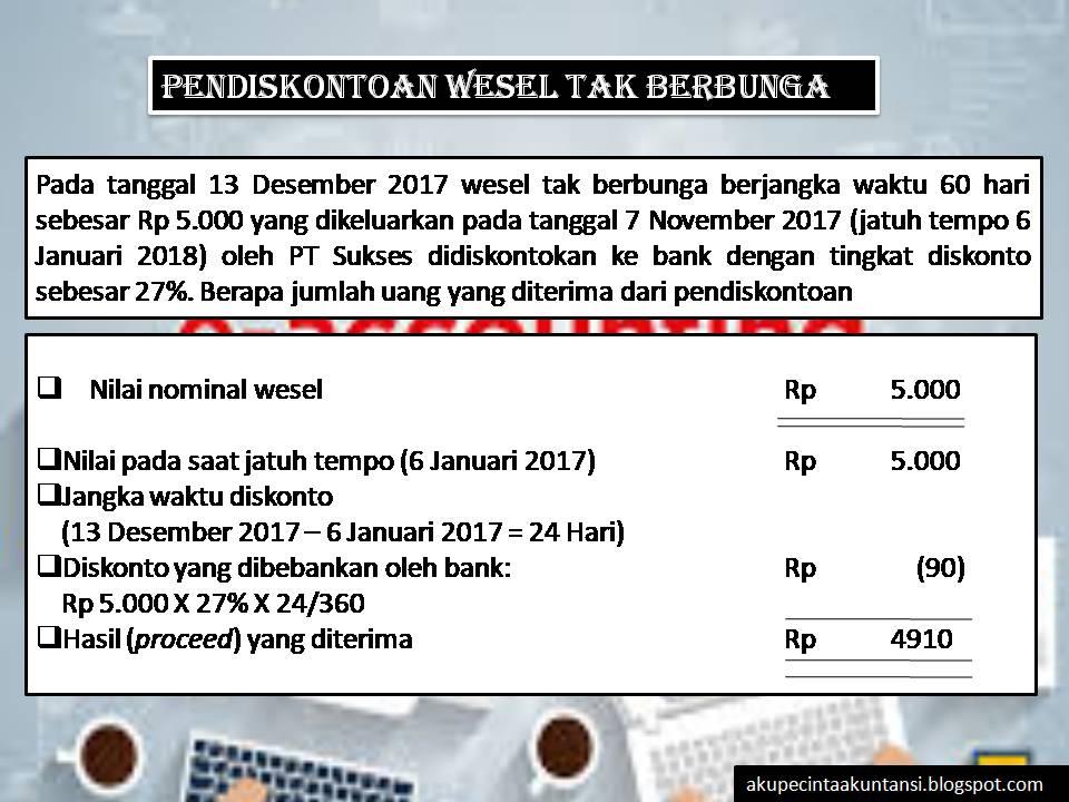 Cara Perhitungan Wesel Tagih Jika Dijual Akuntansi