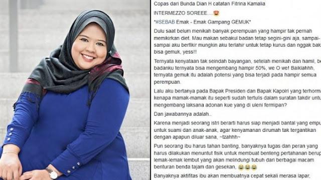 Viral di Facebook, Curhatan Wanita Ini Menohok Ibu-ibu yang Tak Percaya Diri Punya Tubuh Gemuk