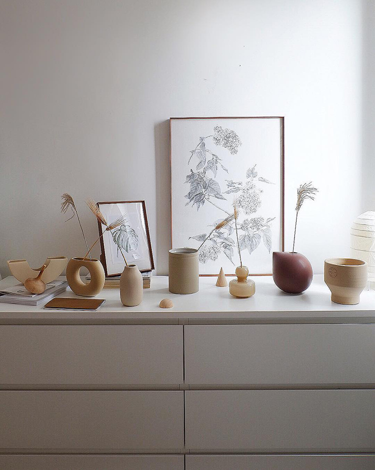 INSTAGRAM CRUSH: Yitai Hu. Cluster of ceramics on dresser