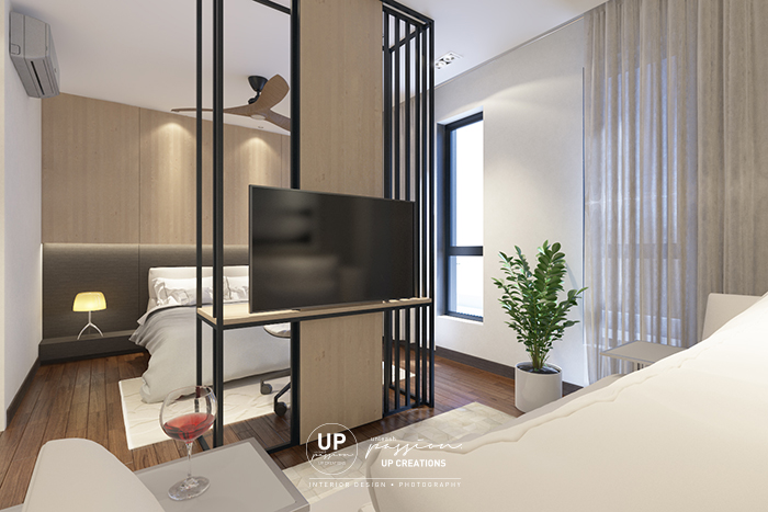 kalista superlink bedroom with study table cum tv console as divider in design of wood panel and black color metal frame