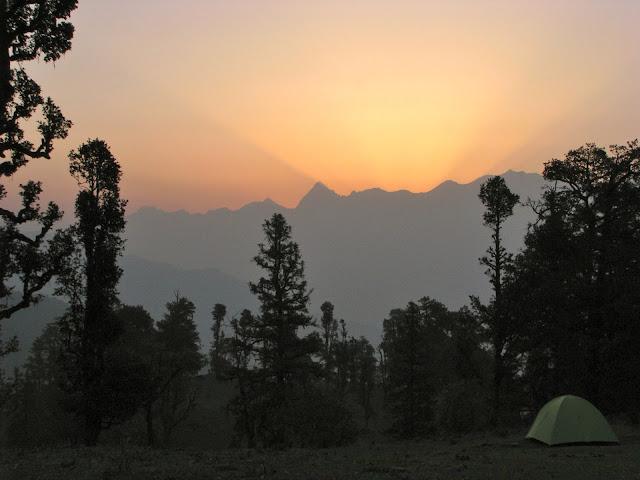Just before sunrise, Dayara bugyal