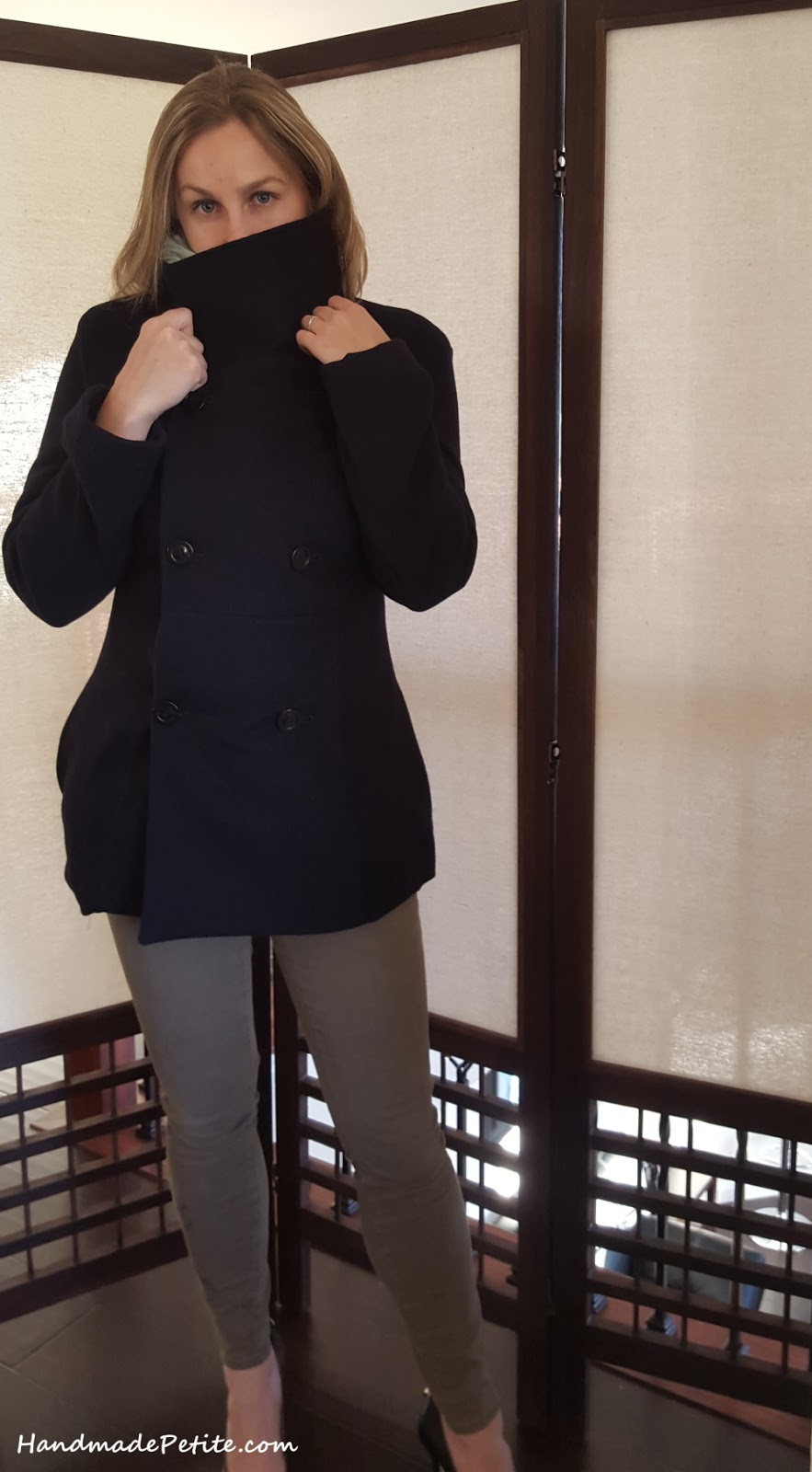 Sewn petite black cashmere coat from Butterick 5685 pattern