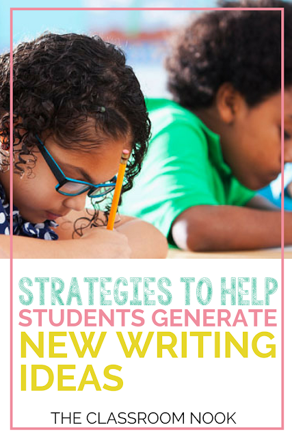 Check out these writing strategies to help students to develop new ideas for their own writing during writer's workshop.  #writersworkshop #writing #elementary #teaching #writingstrategies