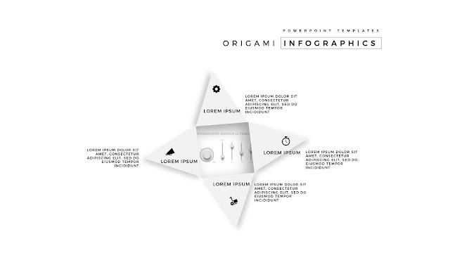4 Icon options of Abstract Origami Infographics for PowerPoint Templates with placeholder in white Background Slide 2