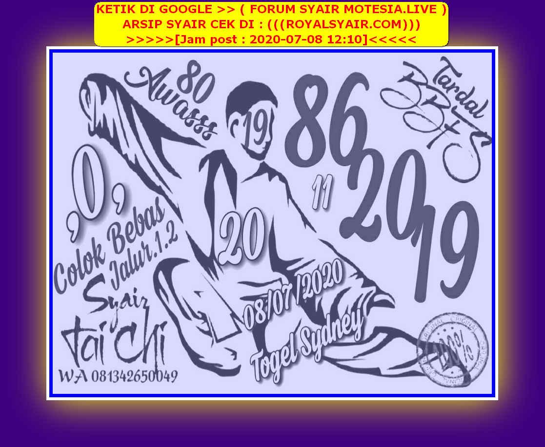 Kode syair Sydney Rabu 8 Juli 2020 12