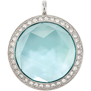 Large Silver Twist Living Locket Base and Aqua Prism Living Locket Face available at StoriedCharms.com