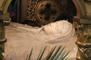 The tomb of Saint Catherine of Siena can be seen inside the Basilica of Santa Maria Sopra Minerva in Rome