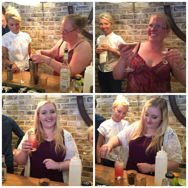 Photograph of myself and Lisa trying out mixology