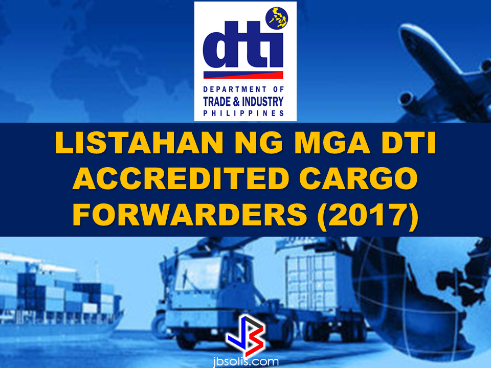 "The DTI fervently warn the public especially the OFWs to avoid doing business transactions with fraudulent cargo forwarders and consolidators. Dealing with them is like giving away  your hard earned money to the thieves. Cases of  lost and damaged balikbayan boxes has been very rampant for years and the culprits, mostly cargo forwarders with expired license and likewise illegally operating in spite of lack of accreditation from the DTI. The main reason behind undelivered boxes is that the cargo or freight forwarders are not paying proper taxes. Some of them are already blacklisted yet still continue to operate. To avoid any hassle and lost of hard earned cargo, never transact with cargo forwarders that are not included in the DTI List of accredited cargo and freight forwarders.  Origin (Country) State/City Philippine Freight Forwarder Foreign Agent/Counterpart Australia    Adelaide LBC Express, Inc. JNR Forwarders Brisbane Brand Expert Freight Forwarder, Corp. Orient Freight LCSN Express Movers, Inc. Rolling Express Qld NSW RRG Freight Services Austral Cargo Advance Melbourne Brand Expert Freight Forwarder, Corp. Ordex Express LBC Express, Inc. LBC Australia Pty Ltd. Urgent Cargo Express Int'l Forwarder & Brokerage Inc. Eha Services We-Go Logistics Int'l. Corp. SCR Logistics Perth Brand Expert Freight Forwarder, Corp. Trojan Express Pty Ltd Queensland Manilaforwarder Phil., Inc. JJ's Cargo Sydney LBC Express Inc. LBC Australia Pty Ltd. Mac Ocean Waves Cargo System Co. Australis Pty. Ltd Nippon Express Philippines Corporation Nippon Express (Australia) Pty.,Ltd. U MAC Forwarders Express, Inc. Forex World Pty Ltd We-Go Logistics Int'l. Corp. SCR Logistics Austria Austria RRG Freight Services Patria Express Cargo Service  Vienna 12:24 Cargo Express Corporation M&M Cargo Express E.U. Orbit Kleintransporte Urgent Cargo Express Int'l. Forwarder & Brokerage Inc. Blue Cargo M. Valdez Cargo Bahrain Bahrain LBC Express Inc. LBC Australia Pty Ltd. Roxas Cargo Express Pinoy Express Movers Manama Brand Expert Freight Forwarder, Corp. Filipinas Cargo International Cargo Services U MAC Forwarders Express, Inc. Forex-Umac Cargo Belgium Antwerp Genex Cargo Forwarder Philair Logistics Belgium Nippon Express Philippines Corporation Nippon Express (Belgium) N.V./S.A. Bermuda Devonshire Urgent Cargo Express Int'l. Forwarder & Brokerage Inc. A&L Cargo Brazil Sao Paolo Nippon Express Philippines Corporation Nippon Express do Brasil Ltda. Brunei  Bandar Seri Begawan (BSB) 12:24 Cargo Express Corporation Urdan Express Services Muara LBC Express, Inc. LBC Mabuhay Brunei Sdn. Bhd. Canada Alberta U MAC Forwarders Express, Inc. Umac Express Cargo British Columbia 12:24 Cargo Express Corporation Forex Cargo (BC) INC. Calgary 12:24 Cargo Express Corporation Forex Cargo Alberta Inc Willxpress, Inc. (formerly Accord Freightforwarders, Inc.) Jenrich Fast Cargo Edmonton 12:24 Cargo Express Corporation Forex Alliance Cargo Inc. U MAC Forwarders Express, Inc. Umac Express Cargo  Manitoba U MAC Forwarders Express, Inc. Umac Express Cargo Mississauga Urgent Cargo Express Int'l. Forwarder & Brokerage Inc. Highlight Express Ontario Nippon Express Philippines Corporation Nippon Express Canada Ltd. Quebec Elitex Logistics Corp. SM Services International Corporation Richmond R & A Fastfrate Corp. Star Box Express Inc. Toronto R & A Fastfrate Corp. a. Atin Ito Freight Forwarder Limited b. Reliable Cargo Inc. LBC Express, Inc. LBC Mundial Cargo Corp U MAC Forwarders Express, Inc. a. Forex Toronto b. Umac Toronto Vancouver  Aramex Canada NRU Cargo Forwarder LBC Express, Inc. LBC Mundial Cargo Corp U MAC Forwarders Express, Inc. Umac Express Cargo Chile Santiago Nippon Express Philippines Corporation Nippon Express Chile S.A. China Huangou We-Go Logistics Int'l. Corp. Shenzhen Full-Trans Logistics Co., Ltd.  Ningbo We-Go Logistics Int'l. Corp. Shenzhen Full-Trans Logistics Co., Ltd.  Shanghai Jeezan Int'l Cargo & Courier Services Shanghai Galaxy International Logistics Co., Ltd. Unified Alliance Asia Logistics Phils. Inc. Shanghai Viewtrans Co., Ltd. We-Go Logistics Int'l. Corp. Shenzhen Full-Trans Logistics Co., Ltd. Shekou We-Go Logistics Int'l. Corp. Shenzhen Full-Trans Logistics Co., Ltd. Shenzhen We-Go Logistics Int'l. Corp.. Shenzhen Full-Trans Logistics Co., Ltd. Tianjin We-Go Logistics Int'l. Corp. Shenzhen Full-Trans Logistics Co., Ltd. Xingang We-Go Logistics Int'l. Corp. Shenzhen Full-Trans Logistics Co., Ltd. Cyprus Larnaca Brand Expert Freight Forwarder, Corp. Five Continents Ceylon Services Nicosia Genex Cargo Forwarder Menley Panaris Philippines Forwarders Denmark Copenhagen Atlas Brokerage and Express Padala, Inc. Premacell Brand Expert Freight Forwarder, Corp. Connect Travel & Logistics Republic Forwarders LCSN Express Movers, Inc. Mabuhay Balikbayan Box England London Brand Expert Freight Forwarder, Corp. Tagalog Balikbayan Services On-Board International Cargo Phils., Inc. Excel Cargo Finland Helsinki LCSN Express Movers, Inc. Scanphil Oy France Le Harve Nippon Express Philippines Corporation Nippon Express France S.A. E-pad Freight Forwarder Rhonnick Sea Cargo Germany  Bischofsheim LBC Express, Inc. LBC Germany GmbH Deutschland Nippon Express Philippines Corporation Nippon Express (Deutschland) GmBH Dusseldorf Nippon Express Philippines Corporation Nippon Express (Europe) GmBH Frankfurt Nippon Express Philippines Corporation Nippon Express (Deutschland) GmBH Hamburg  Brand Expert Freight Forwarder, Corp. Conphil Import Export Services RC Montevirgen Int. Kutscherberg RDM Logistic Express EBCS Moers Brand Expert Freight Forwarder, Corp. Philcargo Logistics Puchheim Brand Expert Freight Forwarder, Corp. German Balikbayan Quality Services Rhein LCSN Express Movers, Inc. Binger Balikbayan Services   Greece Athens U MAC Forwarders Express, Inc. Umac Express Cargo Perama Genesis Logistics Global Svcs., Inc. BTL Ilocos Expert Guam Guam LBC Express, Inc. Baker International, Inc. Hong Kong Hong Kong Afreight Phils., Inc. Afreight (Asia - Pacific) Ltd. Genex Cargo Forwarder General Cargo Express Ltd. LBC Express, Inc. Advance Global Systems, Ltd. Nippon Express Philippines Corporation Nippon Express (Hkg) Co.,Ltd. Speedstream Transport Just Cargo Limited Unified Alliance Asia Logistics Phils. Inc. Golden Wave Shipping Ltd. Kowloon U MAC Forwarders Express, Inc. Super Ace Cargo Kwai Chung Elitex Logistics Corp. Worldwide Elite Express Company Iceland Reykjavik U MAC Forwarders Express, Inc. R.E.M. Global Transport Indonesia Jakarta Brand Expert Freight Forwarder, Corp. PT Transbuana International Nippon Express Philippines Corporation PT Nittsu Lemo Indonesia Logistik Unified Alliance Asia Logistics Phils. Inc. PT. Dian Mulia Freight Travel, JKT Ireland Belfast 12:24 Cargo Express Corporation Phil Direct LCSN Express Movers, Inc. MGM Cargo Limited Dublin Etmar Freight Forwarding Services Global Box Shipments Nippon Express Philippines Corporation Nippon Express (Ireland) Ltd. Dundalk 12:24 Cargo Express Corporation Balikbayan Box, Inc. Israel Ashdod 12:24 Cargo Express Corporation Seafarers Cargo Brand Expert Freight Forwarder, Corp. Migal Cargo Asian Express E-pad Freight Forwarder Jdeide -Mackner Italy   Genoa E-pad Freight Forwarder Oikia SRL Italy  RDM Logistic Express JRC Milan Afreight Phils., Inc. Afreight Italia SRL E-pad Freight Forwarder JHL Express International Air and Sea Cargo Highlights Express Air and Ocean Cargo, Co. JHL Express LBC Express, Inc. LBC Italy Srl Nippon Express Philippines Corporation Nippon Express (Italia) S.R.L. U MAC Forwarders Express, Inc. Umac Express Cargo Milano Nippon Express Philippines Corporation Nippon Express (Italia) S.R.L. Napoli Urgent Cargo Express Int'l. Forwarder & Brokerage Inc. Emmanuel Cargo Express Srl Rome Genex Cargo Forwarder Oriental Express Cargo LBC Express, Inc. LBC Italy Srl Urgent Cargo Express Int'l. Forwarder & Brokerage Inc. Ass. Cult. Association Europhil Philippine Movers Hilltop Marciana Toscana Atlas Brokerage and Express Padala, Inc. Figueroa Lucas Miguel Japan Anjo-Shi Chenvel Svcs., Inc. Narita Express Cargo Door to Door Edogawa-Ku Chenvel Svcs., Inc. Kawai Door to Door Fukushima-Shi Chenvel Svcs., Inc. Gemini Door to door Hamamatsu-Shi Chenvel Svcs., Inc. Hamamatsu Easy Shop Higa-Shi Chenvel Svcs., Inc. Sakuma Merchandizer Higashihiroshima-Shi Chenvel Svcs., Inc. Pink Rose Door to Door Service Ida-Shi Chenvel Svcs., Inc. J-Seven Cargo Door to Door Services Isesaki-Shi Chenvel Svcs., Inc. Misaki Cargo D2D Services Kakegawa-Shi Chenvel Svcs., Inc. SMH Door to Door Kakogawa-Shi Chenvel Svcs., Inc. Hyogo Ken Cargo Door to Door Services Kawasaki City Nippon Express Philippines Corporation Nittsu Nec Logistics Kawasaki-Shi Chenvel Svcs., Inc. Geli-Viva D2D Services Kawaguchi-Shi Chenvel Svcs., Inc. Dream Box D2D Services Kobe Nippon Express Philippines Corporation Nippon Express Co.,Ltd. Kyoto-Shi Chenvel Svcs., Inc. Heart Box Door to Door Services Koga-Shi Chenvel Svcs., Inc. Dodong Express Maizuro-Shi Chenvel Svcs., Inc. Global Cargo Int'l. Mine-Shi Chenvel Svcs., Inc. Joysu Door to Door Services Minokamo-Shi Chenvel Svcs., Inc. Dolphin Cargo Naraha-Shi Chenvel Svcs., Inc. Karen Express Nagoya-Shi Chenvel Svcs., Inc. Nagoya Wings Cargo D2D  Ben/Nenith Hattori Quatros Marias Int'l. Nippon Express Philippines Corporation Nippon Express Co.,Ltd. Naka-Gun Chenvel Svcs., Inc. H & K Door to Door Services Osaka Nippon Express Philippines Corporation Nippon Express Co.,Ltd. Okazaki-Shi Chenvel Svcs., Inc. Sakura Door to Door - (For termination) Saga-Shi Chenvel Svcs., Inc. Philippine Express Cargo Door to Door Services Toda KC Express Door Delivery Services, Inc. KC Cargo Tokyo LBC Express, Inc. Transtech Co.,ltd. Nippon Express Philippines Corporation Nippon Express Co.,Ltd. RV Door To Door Delivery Services Techno Hi Co., Ltd Transtech Global Philippines, Inc. (formerly Transtech Balikbayan Box, Inc.) Transtech Company Ltd. Japan U MAC Forwarders Express, Inc. Forex Japan Tokyouto Chenvel Svcs., Inc. Yehey Japan Tokyo Tu Chenvel Svcs., Inc. G-Maq  Toyohashi-Shi Chenvel Svcs., Inc. BK Toyohasi Express Yokohama KC Express Door Delivery Services, Inc. KC Cargo Nippon Express Philippines Corporation Nippon Express Co.,Ltd. Yokohama-Shi Chenvel Svcs., Inc. Kapamilya Cargo Jordan Amman 12:24 Cargo Express Corporation Five Stars Shipping Coriner Global Express Logistics and Trading Corporation Five Star Shipping Co. NRU Cargo Forwarder Seven Seas Cargo Trico International Forwarding Phils., Inc. Trico International Korea     Huwn U MAC Forwarders Express, Inc. St. Michael Cargo Express Korea U MAC Forwarders Express, Inc. Forex Cargo Korea Umac Express Cargo Korea Gold Star Express Cargo LBC Express, Inc. Hanpass Seoul Genex Cargo Forwarder MY Pasalubong International Kuwait Kuwait Brand Expert Freight Forwarder, Corp. Brand Gpu Express Logistic Company Coriner Global Express Logistics and Trading Corporation Conor Express Cargo LCSN Express Movers, Inc. Falcon Cargo International Co.  Genex Cargo Forwarder Al Masila Group United Shipping WLL Roxas Cargo Express Western Express Cargo Maliya Makatiexpress Cargo, Inc. Makati Express Cargo Safat Trico International Forwarding Phils., Inc. Trico International Shuwaikh LBC Express, Inc. LBC Express Marine Transport Co., WLL Lebanon Beirut Genesis Logistics Global Svcs., Inc. General Transport Services NRU Cargo Forwarder LTC Express Cargo  Roxas Cargo Express Beirut Cargo Center Malaysia Kuala Lumpur Afreight Phils., Inc. Afreight Cargo SDN BHD Kuching Valu-Kargo Line, Inc. Valukargo Shipping (M) SDB BHD Malaysia Unified Alliance Asia Logistics Phils. Inc. Armada International Dn Bhd Jiamin Cargo Express, Inc. Eagle Manila Cargo SDN BHD Pasir Gudang  Valu-Kargo Line, Inc. Valukargo Shipping (M) SDB BHD Port Klang Nippon Express Philippines Corporation Nippon Express (Malaysia) SDN BHD LBC Express, Inc. LBC Mabuhay Malaysia, Sdn. Bhd. Malta St. Paul's Bay Urgent Cargo Express Int'l. Forwarder & Brokerage Inc. Suhiro Malta Limeted Mexico Manzanillo Nippon Express Philippines Corporation Nippon Express de Mexico S.A. de C.V. Netherlands Rotterdam LCSN Express Movers, Inc. Balikbayan To Phil Malaya Balikbayan Box Nippon Express Philippines Corporation Nippon Express (Nederland) B.V. Roxas Cargo Express Ribex International Speedstream Transport Flora's Handelsonderneming The Netherlands Tañon Gulf Logistics Sogge Bakke Gard New Zealand Auckland Nippon Express Philippines Corporation Nippon Express (New Zealand) Ltd., U MAC Forwarders Express, Inc. Forex New Zealand Tauranga LCSN Express Movers, Inc. Go Logistics Ltd Tres Marias Norway Norway Brand Expert Freight Forwarder, Corp. Nordic Balikbayan Box Oslo Atlas Brokerage and Express Padala, Inc. Premacell Linaban Genex Cargo Forwarder Filstar Norway Rogaland Brand Expert Freight Forwarder, Corp. Alt Innen Renhold Cargo Oman Muscat Brand Expert Freight Forwarder, Corp. Pinoy Cargo Coriner Global Express Logistics and Trading Corporation Mortada Ali Anwar Trading LCC Ruwi Trico International Forwarding Phils., Inc. Trico International Papua New Guinea Port Moresby Manilaforwarder Phil., Inc. Pearl Express Ltd. Portugal Portugal Nippon Express Philippines Corporation Nippon Express Portugal S.A. Qatar Doha Coriner Global Express Logistics and Trading Corporation Coriner International Express Cargo Coriner Global Express Logistics and Trading Corporation Conor International Express Cargo Coriner Global Express Logistics and Trading Corporation Shepherd Logistics Co. W.L.L. Genex Cargo Forwarder United Express Cargo LBC Express, Inc. LBC Express, LLC -Qatar Makatiexpress Cargo, Inc. Makati Express Cargo LCSN Express Movers, Inc. Manila Express Cargo RDM Logistic Express CargoNet Sky Land Global Logistics, Inc. Sky Freight Group Soonest Global Express Corp. Shaher Express Cargo Trico International Forwarding Phils., Inc. Trico International Russia Moscow Goetz Moving and Storage, Inc. Pisacom Atinto Coop Saudi Arabia Al-Ahsa Mac Ocean Waves Cargo System Co. Al-Essa World Cargo Al Khobar Genex Cargo Forwarder GP Express Sky Land Global Logistics, Inc. Sky Freight Forwarders Dammam Coriner Global Express Logistics and Trading Corporation Caravan Cargo Agency LBC Express, Inc. LBC Express Inc. – Saudi Arabian Br (Riyadh) Jeddah Coriner Global Express Logistics and Trading Corporation Conor Express Cargo Genex Cargo Forwarder GP Express Majed M. Al Mekati Froup of Companies Kingspoint Express & Logistics Makati Express Cargo LBC Express, Inc. LBC Express Inc. – Saudi Arabian Br (Riyadh) Makatiexpress Cargo, Inc. Makati Express Cargo Sky Land Global Logistics, Inc. Kamal Hassan Al Wassia Est. Speedstream Transport Mahmoud Subai Al-Muhadris Riyadh Fil-Asia Cargo Express Services Corp Fil-Asia Cargo Forwarders Laguna Lakers Cargo Forwarders Laguna Lakers Express Cargo RDM Logistic Express GP Express RRG Freight Services Top Cargo., LTD Sky Land Global Logistics, Inc. Kamal Hasan AL Vseia Total Line Logistics Corporation BG International Cargo Saudi Arabia U MAC Forwarders Express, Inc. Umac forwarders Express Singapore Singapore Afreight Phils., Inc. Afreight Cargo Pte Ltd Brand Expert Freight Forwarder, Corp. KC Dat Balikbayan Express Pte Ltd. GCLPI-Gateway Container Line Phils., Inc. Benkel International Pte Ltd. Jiamin Cargo Express, Inc. Robin Cargo Express Pte Ltd Jolly-B Box Express Line, Inc. JBB Groupage Pte Ltd. LBC Express, Inc. LBC Express Airfreight (S) Pte. Ltd Nippon Express Philippines Corporation Nippon Express (Sin) Pte.,Ltd. Sinphil International Forwarders Services Speedbox Pte Ltd U MAC Forwarders Express, Inc. Regent Forex Cargo Urgent Cargo Express Int'l. Forwarder & Brokerage Inc. Metro Box Services Valu-Kargo Line, Inc. Valukargo Groupage Services Inc. We-Go Logistics Int'l. Corp. Sea-Net Cargo Express (S) Pte Ltd Spain Algeciras E-pad Freight Forwarder B.A.L. Cargo express Barcelona LBC Express, Inc. LBC Mabuhay Cargo S.L. Nippon Express Philippines Corporation Nippon Express de Espana S.A. Urgent Cargo Express Int'l. Forwarder & Brokerage Inc. M& M Services Madrid Highlights Express Air and Ocean Cargo, Co. B.A.L. Cargo U MAC Forwarders Express, Inc. Umac Express Cargo Canary Island Roxas Cargo Express Kabayan SL Sweden Gothenburg LCSN Express Movers, Inc. Vipans BYGG & Alltjanst Stockholm Total Line Logistics Corporation Torwill Balikbayan Box Urgent Cargo Express Int'l. Forwarder & Brokerage Inc. Air Asia Str. Switzerland Kloten Genex Cargo Forwarder Kloten Zurich Brand Expert Freight Forwarder, Corp. Pinoy Asian Store LCSN Express Movers, Inc. Alistair Baloco Marketing Nippon Express Philippines Corporation Nippon Express (Schweiz) AG Taiwan Kaohsiung  Mac Ocean Waves Cargo System Co. EEC Express Cargo Co., Ltd LBC Express, Inc. Nippon Express (Taiwan) Co.,Ltd. Keelung Nippon Express Philippines Corporation Nippon Express (Taiwan) Co.,Ltd. Thailand Bangkok LBC Express, Inc. Fast track Global Nippon Express Philippines Corporation Nippon Express (Thailand) Co.,Ltd. NRU Cargo Forwarder Seabra Movers We-Go Logistics Int'l. Corp. Top Global Logistics Co.,Ltd We-Go Logistics Intl. Corp. Turkey Istanbul Genesis Logistics Global Svcs., Inc. Bafa International Movers LCSN Express Movers, Inc. Tek-Fel United Arab Emirates Abu Dhabi Brand Expert Freight Forwarder, Corp. Luzan Express Cargo Coriner Global Express Logistics and Trading Corporation Coriner Express Cargo Dubai Brand Expert Freight Forwarder, Corp. DCC Balikbayan Box Cargo Services L.L.C Flomic Freight & Logistic LLC Coriner Global Express Logistics and Trading Corporation AFZ Cargo Services LCC Genex Cargo Forwarder GP Express Kingspoint Express & Logistics Makati Express Cargo LBC Express, Inc. LBC Express Inc. - Dubai Branch LCSN Express Movers, Inc. Padz Cargo Services LCSN Express Movers, Inc. Precious Sea & Air Cargo Est LCSN Express Movers, Inc. Highlights Express Air and Ocean Cargo Makatiexpress Cargo, Inc. Makati Express Cargo Mar Freight Forwarding Services Crystal International Cargo L.L.C. Nippon Express Philippines Corporation Nippon Express (Middle East) L.L.C. NRU Cargo Forwarder Pinas Express Cargo RDM Logistic Express CargoNet Roxas Cargo Express Crystal Int'l. Cargo LLC Speedstream Transport Prime Express Int'l Courier LLC Trico International Forwarding Phils., Inc. Frico International LLC United Kingdom Felixstowe LBC Express, Inc. LBC Express Ltd. Thamesport LBC Express, Inc. LBC Express Ltd. London E-pad Freight Forwarder Highlight Express Int'l. Highlights Express Air and Ocean Cargo, Co. Highlights Express International Ltd. Trico International Forwarding Phils., Inc. Trico International Shipping Ltd Middlesex Ocean Star Freight Express Forex Cargo (UK) Co., LTD U MAC Forwarders Express, Inc. Umac forwarders Express Southampton Nippon Express Philippines Corporation Nippon Express (UK) Ltd. Worcester Brand Expert Freight Forwarder, Corp. BN Lilley Services United States of America Atlanta Nippon Express Philippines Corporation Nippon Express U.S.A. Inc. California Atlas Brokerage and Express Padala, Inc. Atlas Shippers Int'l Brand Expert Freight Forwarder, Corp. Mon Cargo Services Inc. RRG Freight Services The Filipino Cargo International Sky Land Global Logistics, Inc. Star Kargo, USA Unifreight Cargo Systems, Inc. Unifreight Cargo Systems Inc U MAC Forwarders Express, Inc. Umac Express Cargo Wide-Wide World Express Corporation (formerly DHL (Philippines) Services Corporation) MGL (USA) Inc. XYZ Global Express Corp. XYZ Global Express (USA) Chicago E-pad Freight Forwarder Ghandi International Shipping Nippon Express Philippines Corporation Nippon Express U.S.A. Inc. U MAC Forwarders Express, Inc. Umac Express Cargo Detroit Nippon Express Philippines Corporation Nippon Express U.S.A. Inc. Elizabeth E-pad Freight Forwarder Ephraim P. Porras Jr. A-Sonic Logistic USA Florida U MAC Forwarders Express, Inc. Umac Express Cargo Guam U MAC Forwarders Express, Inc. Umac Forwarders Express Hawaii LBC Express, Inc. LBC Mabuhay Hawaii Corp U MAC Forwarders Express, Inc. Hi-Phil Express, Inc. Houston Nippon Express Philippines Corporation Nippon Express U.S.A. Inc.  Kansas Atlas Brokerage and Express Padala, Inc. Atlas Shippers Lakewood LBC Express, Inc. LBC Mundial Corporation Las Vegas LBC Express, Inc. LBC Mundial Corporation Los Angeles Manilaforwarder Phil., Inc. Manila Forwarder USA Corp/Manila Freight Nippon Express Philippines Corporation Nippon Express U.S.A. Inc. Sky Land Global Logistics, Inc. Sky Freight Forwarders, Inc. USA Total Line Logistics Corporation Filam Cargo Total Line Logistics Corporation FCE Total Line Logistics Corporation MCCI MaxPlus Nashville Nippon Express Philippines Corporation Nippon Express U.S.A. Inc. New Jersey Atlas Brokerage and Express Padala, Inc. Atlas Shippers East LLC LBC Express, Inc. LBC Mabuhay North America Makatiexpress Cargo, Inc. Makati Express Cargo Phil-Global Cargo Movers, Inc. Global Cargo Movers, LLC U MAC Forwarders Express, Inc. Will Express Delivery Inc New York Abbraj Cargo Express Macro-Graphics International Corp. Brand Expert Freight Forwarder, Corp. Carl Cargo Express LBC Express, Inc. LBC Mabuhay North America Nippon Express Philippines Corporation Nippon Express U.S.A. Inc. On-Board International Cargo Phils., Inc. Macro Int'l Cargo On-Board International Cargo Phils., Inc. Shipmate Express Oakland E-pad Freight Forwarder GEP International LBC Express, Inc. LBC Mundial Corporation Unifreight Cargo Systems, Inc. Allied Cargo Services Oregon LBC Express, Inc. LBC Mundial Corporation Tacoma U MAC Forwarders Express, Inc. Umac Express Cargo Texas Atlas Brokerage and Express Padala, Inc. Atlas Shippers U MAC Forwarders Express, Inc. Freedom Umac Tx U MAC Forwarders Express, Inc. Umac Texas Virginia Mariano F. Castro & Sons, Inc.  Manila Forwarders Corp. LBC Express, Inc. LBC Mundial Corporation Washington Willex Movers, Inc. Willex USA Cargo Inc. Vietnam Ho Chi Minh City Nippon Express Philippines Corporation Nippon Express (Vietnam) Co.,Ltd. Vietnam Unified Alliance Asia Logistics Phils. Inc. Almighty Co., Ltd. Scroll view the complete list of  the DTI Accredited Cargo Forwarders    For assistance, call the DTI Offices with these contacts:   Recommended: Why OFWs Remain in Neck-deep Debts After Years Of Working Abroad? From beginning to the end, the real life of OFWs are colorful indeed.  To work outside the country, they invest too much, spend a lot. They start making loans for the processing of their needed documents to work abroad.  From application until they can actually leave the country, they spend big sum of money for it.  But after they were being able to finally work abroad, the story did not just end there. More often than not, the big sum of cash  they used to pay the recruitment agency fees cause them to suffer from indebtedness.  They were being charged and burdened with too much fees, which are not even compliant with the law. Because of their eagerness to work overseas, they immerse themselves to high interest loans for the sake of working abroad. The recruitment agencies play a big role why the OFWs are suffering from neck-deep debts. Even some licensed agencies, they freely exploit the vulnerability of the OFWs. Due to their greed to collect more cash from every OFWs that they deploy, it results to making the life of OFWs more miserable by burying them in debts.  The result of high fees collected by the agencies can even last even the OFWs have been deployed abroad. Some employers deduct it to their salaries for a number of months, leaving the OFWs broke when their much awaited salary comes.  But it doesn't end there. Some of these agencies conspire with their counterpart agencies to urge the foreign employers to cut the salary of the poor OFWs in their favor. That is of course, beyond the expectation of the OFWs.   Even before they leave, the promised salary is already computed and allocated. They have already planned how much they are going to send to their family back home. If the employer would cut the amount of the salary they are expecting to receive, the planned remittance will surely suffer, it includes the loans that they promised to be paid immediately on time when they finally work abroad.  There is such a situation that their family in the Philippines carry the burden of paying for these loans made by the OFW. For example. An OFW father that has found a mistress, which is a fellow OFW, who turned his back  to his family  and to his obligations to pay his loans made for the recruitment fees. The result, the poor family back home, aside from not receiving any remittance, they will be the ones who are obliged to pay the loans made by the OFW, adding weight to the emotional burden they already had aside from their daily needs.      Read: Common Money Mistakes Why Ofws remain Broke After Years Of Working Abroad   Source: Bandera/inquirer.net NATIONAL PORTAL AND NATIONAL BROADBAND PLAN TO  SPEED UP INTERNET SERVICES IN THE PHILIPPINES  NATIONWIDE SMOKING BAN SIGNED BY PRESIDENT DUTERTE   EMIRATES ID CAN NOW BE USED AS HEALTH INSURANCE CARD  TODAY'S NEWS THAT WILL REVIVE YOUR TRUST TO THE PHIL GOVERNMENT  BEWARE OF SCAMMERS!  RELOCATING NAIA  THE HORROR AND TERROR OF BEING A HOUSEMAID IN SAUDI ARABIA  DUTERTE WARNING  NEW BAGGAGE RULES FOR DUBAI AIRPORT    HUGE FISH SIGHTINGS  From beginning to the end, the real life of OFWs are colorful indeed. To work outside the country, they invest too much, spend a lot. They start making loans for the processing of their needed documents to work abroad.  NATIONAL PORTAL AND NATIONAL BROADBAND PLAN TO  SPEED UP INTERNET SERVICES IN THE PHILIPPINES In a Facebook post of Agriculture Secretary Manny Piñol, he said that after a presentation made by Dept. of Information and Communications Technology (DICT) Secretary Rodolfo Salalima, Pres. Duterte emphasized the need for faster communications in the country.Pres. Duterte earlier said he would like the Department of Information and Communications Technology (DICT) ""to develop a national broadband plan to accelerate the deployment of fiber optics cables and wireless technologies to improve internet speed."" As a response to the President's SONA statement, Salalima presented the  DICT's national broadband plan that aims to push for free WiFi access to more areas in the countryside.  Good news to the Filipinos whose business and livelihood rely on good and fast internet connection such as stocks trading and online marketing. President Rodrigo Duterte  has already approved the establishment of  the National Government Portal and a National Broadband Plan during the 13th Cabinet Meeting in Malacañang today. In a facebook post of Agriculture Secretary Manny Piñol, he said that after a presentation made by Dept. of Information and Communications Technology (DICT) Secretary Rodolfo Salalima, Pres. Duterte emphasized the need for faster communications in the country. Pres. Duterte earlier said he would like the Department of Information and Communications Technology (DICT) ""to develop a national broadband plan to accelerate the deployment of fiber optics cables and wireless technologies to improve internet speed."" As a response to the President's SONA statement, Salalima presented the  DICT's national broadband plan that aims to push for free WiFi access to more areas in the countryside.  The broadband program has been in the work since former President Gloria Arroyo but due to allegations of corruption and illegality, Mrs. Arroyo cancelled the US$329 million National Broadband Network (NBN) deal with China's ZTE Corp.just 6 months after she signed it in April 2007.  Fast internet connection benefits not only those who are on internet business and online business but even our over 10 million OFWs around the world and their families in the Philippines. When the era of snail mails, voice tapes and telegram  and the internet age started, communications with their loved one back home can be much easier. But with the Philippines being at #43 on the latest internet speed ranks, something is telling us that improvement has to made.                RECOMMENDED  BEWARE OF SCAMMERS!  RELOCATING NAIA  THE HORROR AND TERROR OF BEING A HOUSEMAID IN SAUDI ARABIA  DUTERTE WARNING  NEW BAGGAGE RULES FOR DUBAI AIRPORT    HUGE FISH SIGHTINGS    NATIONWIDE SMOKING BAN SIGNED BY PRESIDENT DUTERTE In January, Health Secretary Paulyn Ubial said that President Duterte had asked her to draft the executive order similar to what had been implemented in Davao City when he was a mayor, it is the ""100% smoke-free environment in public places.""Today, a text message from Sec. Manny Piñol to ABS-CBN News confirmed that President Duterte will sign an Executive Order to ban smoking in public places as drafted by the Department of Health (DOH). If you know someone who is sick, had an accident  or relatives of an employee who died while on duty, you can help them and their families  by sharing them how to claim their benefits from the government through Employment Compensation Commission.  Here are the steps on claiming the Employee Compensation for private employees.        Step 1. Prepare the following documents:  Certificate of Employment- stating  the actual duties and responsibilities of the employee at the time of his sickness or accident.  EC Log Book- certified true copy of the page containing the particular sickness or accident that happened to the employee.  Medical Findings- should come from  the attending doctor the hospital where the employee was admitted.     Step 2. Gather the additional documents if the employee is;  1. Got sick: Request your company to provide  pre-employment medical check -up or  Fit-To-Work certification at the time that you first got hired . Also attach Medical Records from your company.  2. In case of accident: Provide an Accident report if the accident happened within the company or work premises. Police report if it happened outside the company premises (i.e. employee's residence etc.)  3 In case of Death:  Bring the Death Certificate, Medical Records and accident report of the employee. If married, bring the Marriage Certificate and the Birth Certificate of his children below 21 years of age.      FINAL ENTRY HERE, LINKS OTHERS   Step 3.  Gather all the requirements together and submit it to the nearest SSS office. Wait for the SSS decision,if approved, you will receive a notice and a cheque from the SSS. If denied, ask for a written denial letter from SSS and file a motion for reconsideration and submit it to the SSS Main office. In case that the motion is  not approved, write a letter of appeal and send it to ECC and wait for their decision.      Contact ECC Office at ECC Building, 355 Sen. Gil J. Puyat Ave, Makati, 1209 Metro ManilaPhone:(02) 899 4251 Recommended: NATIONAL PORTAL AND NATIONAL BROADBAND PLAN TO  SPEED UP INTERNET SERVICES IN THE PHILIPPINES In a Facebook post of Agriculture Secretary Manny Piñol, he said that after a presentation made by Dept. of Information and Communications Technology (DICT) Secretary Rodolfo Salalima, Pres. Duterte emphasized the need for faster communications in the country.Pres. Duterte earlier said he would like the Department of Information and Communications Technology (DICT) ""to develop a national broadband plan to accelerate the deployment of fiber optics cables and wireless technologies to improve internet speed."" As a response to the President's SONA statement, Salalima presented the  DICT's national broadband plan that aims to push for free WiFi access to more areas in the countryside.   Read more: http://www.jbsolis.com/2017/03/president-rodrigo-duterte-approved.html#ixzz4bC6eQr5N Good news to the Filipinos whose business and livelihood rely on good and fast internet connection such as stocks trading and online marketing. President Rodrigo Duterte  has already approved the establishment of  the National Government Portal and a National Broadband Plan during the 13th Cabinet Meeting in Malacañang today. In a facebook post of Agriculture Secretary Manny Piñol, he said that after a presentation made by Dept. of Information and Communications Technology (DICT) Secretary Rodolfo Salalima, Pres. Duterte emphasized the need for faster communications in the country. Pres. Duterte earlier said he would like the Department of Information and Communications Technology (DICT) ""to develop a national broadband plan to accelerate the deployment of fiber optics cables and wireless technologies to improve internet speed."" As a response to the President's SONA statement, Salalima presented the  DICT's national broadband plan that aims to push for free WiFi access to more areas in the countryside.  The broadband program has been in the work since former President Gloria Arroyo but due to allegations of corruption and illegality, Mrs. Arroyo cancelled the US$329 million National Broadband Network (NBN) deal with China's ZTE Corp.just 6 months after she signed it in April 2007.  Fast internet connection benefits not only those who are on internet business and online business but even our over 10 million OFWs around the world and their families in the Philippines. When the era of snail mails, voice tapes and telegram  and the internet age started, communications with their loved one back home can be much easier. But with the Philippines being at #43 on the latest internet speed ranks, something is telling us that improvement has to made.                RECOMMENDED  BEWARE OF SCAMMERS!  RELOCATING NAIA  THE HORROR AND TERROR OF BEING A HOUSEMAID IN SAUDI ARABIA  DUTERTE WARNING  NEW BAGGAGE RULES FOR DUBAI AIRPORT    HUGE FISH SIGHTINGS    NATIONWIDE SMOKING BAN SIGNED BY PRESIDENT DUTERTE In January, Health Secretary Paulyn Ubial said that President Duterte had asked her to draft the executive order similar to what had been implemented in Davao City when he was a mayor, it is the ""100% smoke-free environment in public places.""Today, a text message from Sec. Manny Piñol to ABS-CBN News confirmed that President Duterte will sign an Executive Order to ban smoking in public places as drafted by the Department of Health (DOH).  Read more: http://www.jbsolis.com/2017/03/executive-order-for-nationwide-smoking.html#ixzz4bC77ijSR   EMIRATES ID CAN NOW BE USED AS HEALTH INSURANCE CARD  TODAY'S NEWS THAT WILL REVIVE YOUR TRUST TO THE PHIL GOVERNMENT  BEWARE OF SCAMMERS!  RELOCATING NAIA  THE HORROR AND TERROR OF BEING A HOUSEMAID IN SAUDI ARABIA  DUTERTE WARNING  NEW BAGGAGE RULES FOR DUBAI AIRPORT    HUGE FISH SIGHTINGS    How to File Employment Compensation for Private Workers If you know someone who is sick, had an accident  or relatives of an employee who died while on duty, you can help them and their families  by sharing them how to claim their benefits from the government through Employment Compensation Commission. If you know someone who is sick, had an accident  or relatives of an employee who died while on duty, you can help them and their families  by sharing them how to claim their benefits from the government through Employment Compensation Commission.  Here are the steps on claiming the Employee Compensation for private employees.        Step 1. Prepare the following documents:  Certificate of Employment- stating  the actual duties and responsibilities of the employee at the time of his sickness or accident.  EC Log Book- certified true copy of the page containing the particular sickness or accident that happened to the employee.  Medical Findings- should come from  the attending doctor the hospital where the employee was admitted.     Step 2. Gather the additional documents if the employee is;  1. Got sick: Request your company to provide  pre-employment medical check -up or  Fit-To-Work certification at the time that you first got hired . Also attach Medical Records from your company.  2. In case of accident: Provide an Accident report if the accident happened within the company or work premises. Police report if it happened outside the company premises (i.e. employee's residence etc.)  3 In case of Death:  Bring the Death Certificate, Medical Records and accident report of the employee. If married, bring the Marriage Certificate and the Birth Certificate of his children below 21 years of age.      FINAL ENTRY HERE, LINKS OTHERS   Step 3.  Gather all the requirements together and submit it to the nearest SSS office. Wait for the SSS decision,if approved, you will receive a notice and a cheque from the SSS. If denied, ask for a written denial letter from SSS and file a motion for reconsideration and submit it to the SSS Main office. In case that the motion is  not approved, write a letter of appeal and send it to ECC and wait for their decision.      Contact ECC Office at ECC Building, 355 Sen. Gil J. Puyat Ave, Makati, 1209 Metro ManilaPhone:(02) 899 4251 Recommended: NATIONAL PORTAL AND NATIONAL BROADBAND PLAN TO  SPEED UP INTERNET SERVICES IN THE PHILIPPINES In a Facebook post of Agriculture Secretary Manny Piñol, he said that after a presentation made by Dept. of Information and Communications Technology (DICT) Secretary Rodolfo Salalima, Pres. Duterte emphasized the need for faster communications in the country.Pres. Duterte earlier said he would like the Department of Information and Communications Technology (DICT) ""to develop a national broadband plan to accelerate the deployment of fiber optics cables and wireless technologies to improve internet speed."" As a response to the President's SONA statement, Salalima presented the  DICT's national broadband plan that aims to push for free WiFi access to more areas in the countryside.   Read more: http://www.jbsolis.com/2017/03/president-rodrigo-duterte-approved.html#ixzz4bC6eQr5N Good news to the Filipinos whose business and livelihood rely on good and fast internet connection such as stocks trading and online marketing. President Rodrigo Duterte  has already approved the establishment of  the National Government Portal and a National Broadband Plan during the 13th Cabinet Meeting in Malacañang today. In a facebook post of Agriculture Secretary Manny Piñol, he said that after a presentation made by Dept. of Information and Communications Technology (DICT) Secretary Rodolfo Salalima, Pres. Duterte emphasized the need for faster communications in the country. Pres. Duterte earlier said he would like the Department of Information and Communications Technology (DICT) ""to develop a national broadband plan to accelerate the deployment of fiber optics cables and wireless technologies to improve internet speed."" As a response to the President's SONA statement, Salalima presented the  DICT's national broadband plan that aims to push for free WiFi access to more areas in the countryside.  The broadband program has been in the work since former President Gloria Arroyo but due to allegations of corruption and illegality, Mrs. Arroyo cancelled the US$329 million National Broadband Network (NBN) deal with China's ZTE Corp.just 6 months after she signed it in April 2007.  Fast internet connection benefits not only those who are on internet business and online business but even our over 10 million OFWs around the world and their families in the Philippines. When the era of snail mails, voice tapes and telegram  and the internet age started, communications with their loved one back home can be much easier. But with the Philippines being at #43 on the latest internet speed ranks, something is telling us that improvement has to made.                RECOMMENDED  BEWARE OF SCAMMERS!  RELOCATING NAIA  THE HORROR AND TERROR OF BEING A HOUSEMAID IN SAUDI ARABIA  DUTERTE WARNING  NEW BAGGAGE RULES FOR DUBAI AIRPORT    HUGE FISH SIGHTINGS    NATIONWIDE SMOKING BAN SIGNED BY PRESIDENT DUTERTE In January, Health Secretary Paulyn Ubial said that President Duterte had asked her to draft the executive order similar to what had been implemented in Davao City when he was a mayor, it is the ""100% smoke-free environment in public places.""Today, a text message from Sec. Manny Piñol to ABS-CBN News confirmed that President Duterte will sign an Executive Order to ban smoking in public places as drafted by the Department of Health (DOH).  Read more: http://www.jbsolis.com/2017/03/executive-order-for-nationwide-smoking.html#ixzz4bC77ijSR   EMIRATES ID CAN NOW BE USED AS HEALTH INSURANCE CARD  TODAY'S NEWS THAT WILL REVIVE YOUR TRUST TO THE PHIL GOVERNMENT  BEWARE OF SCAMMERS!  RELOCATING NAIA  THE HORROR AND TERROR OF BEING A HOUSEMAID IN SAUDI ARABIA  DUTERTE WARNING  NEW BAGGAGE RULES FOR DUBAI AIRPORT    HUGE FISH SIGHTINGS   Requirements and Fees for Reduced Travel Tax for OFW Dependents What is a travel tax? According to TIEZA ( Tourism Infrastructure and Enterprise Zone Authority), it is a levy imposed by the Philippine government on individuals who are leaving the Philippines, as provided for by Presidential Decree (PD) 1183.   A full travel tax for first class passenger is PhP2,700.00 and PhP1,620.00 for economy class. For an average Filipino like me, it's quite pricey. Overseas Filipino Workers, diplomats and airline crew members are exempted from paying travel tax before but now, travel tax for OFWs are included in their air ticket prize and can be refunded later at the refund counter at NAIA.  However, OFW dependents can apply for  standard reduced travel tax. Children or Minors from 2 years and one (1) day to 12th birthday on date of travel.  Accredited Filipino journalist whose travel is in pursuit of journalistic assignment and   those authorized by the President of the Republic of the Philippines for reasons of national interest, are also entitled to avail the reduced travel tax."