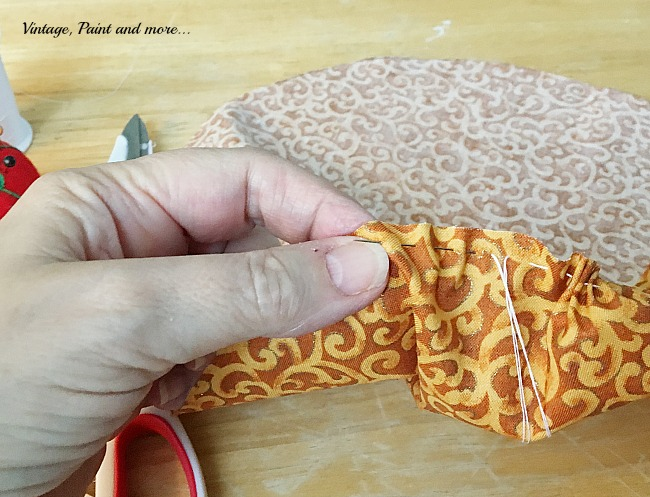 Vintage, Paint and more... basting stitch used to make fabric pumpkins