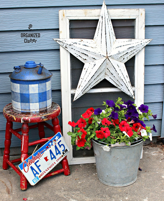 Buffalo Check a Vintage Oil Can for Fourth of July Decor