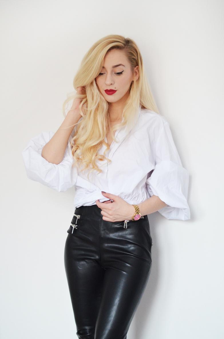 TWEEDOWA MARYNARKA , BIAŁA KOSZULA I SKÓRZANE SPODNIE / tweed jacket, white crop shirt & leather pants